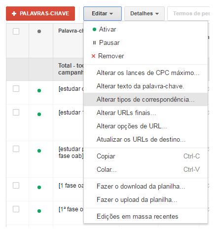 Configuração do tipo de correspondência de palavras-chave no AdWords