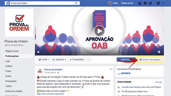 Página do Prova d aOrdem no Facebook - Chatbot