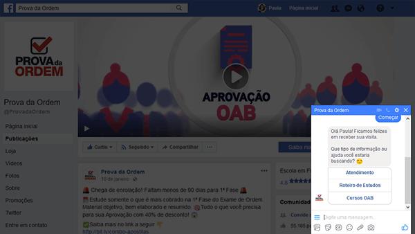 Página do Prova da Ordem no Facebook - Chatbot