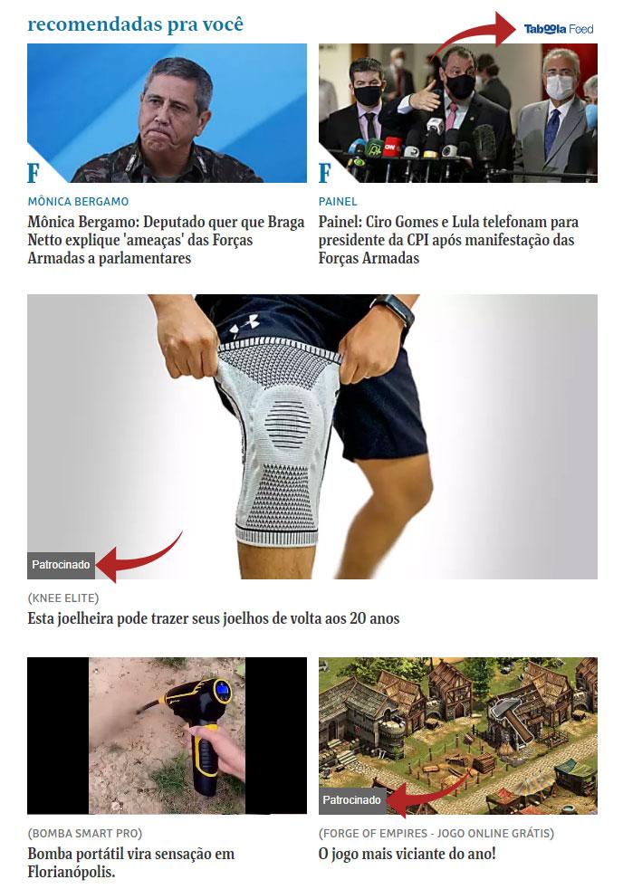 Exemplo do Taboola Feed no portal Folha de São Paulo